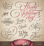 valentine's hand lettering set (vector)