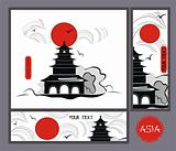 vector background pagoda in asian style