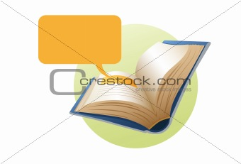 Book with text bubble