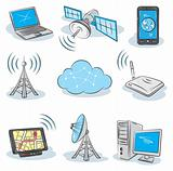 Stock vector illustration Wireless Technology icons