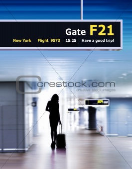 airport and silhouette of passenger