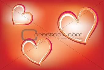 Hearts on luminous background