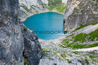 Imotski Blue Lake in Limestone Crater near Split, Croatia