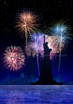 Fire Works On New York