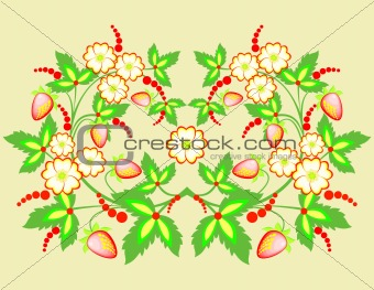 Abstract flowers and strawberries
