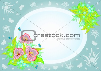 Abstract flowers in frame with background