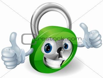 Thumbs up padlock cartoon character