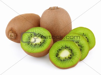 Ripe kiwi fruits with slices