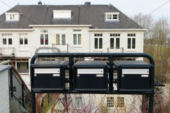 black mailboxes