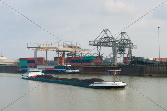 freighter on canal