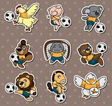cartoon animal soccer player stickers