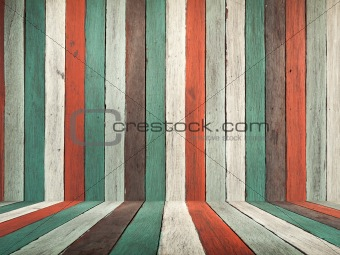 Old color paint wood wall and floor