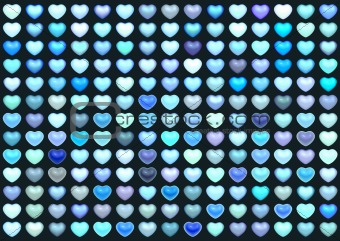 3d collection floating love heart in multiple blue on deep blue