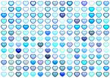 3d collection floating love heart in multiple blue on white