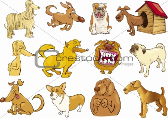 cartoon dogs set
