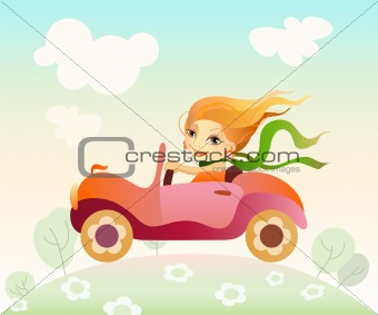 Girl driving car