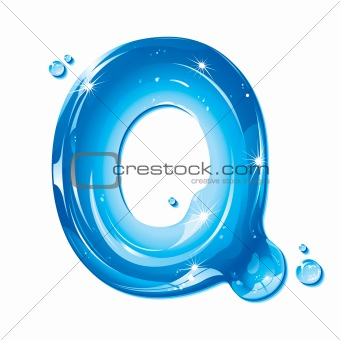 ABC series - Water Liquid Letter - Capital Q