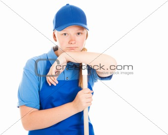 Stock Photo of Bored Teenage Worker