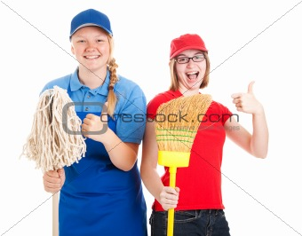 Stock Photo of Enthusiastic Teen Workers - Thumbs Up