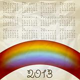 vector 2013 calendar on abstract background with rainbow, crumpl