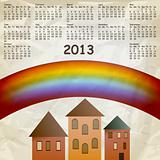 vector 2013 calendar on abstract background with rainbow and old