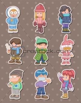 cartoon winter people stickers