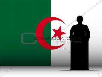 Algeria Speech Tribune Silhouette with Flag Background