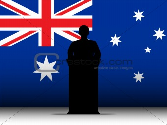 Australia Speech Tribune Silhouette with Flag Background