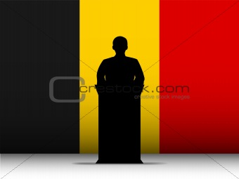 Belgium Speech Tribune Silhouette with Flag Background