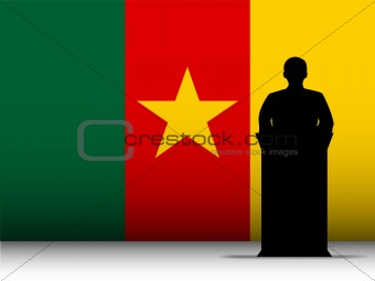 Cameroon Speech Tribune Silhouette with Flag Background