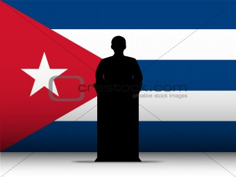 Cuba Speech Tribune Silhouette with Flag Background