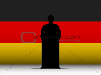 Germany Speech Tribune Silhouette with Flag Background