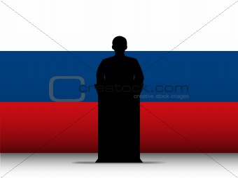 Russia Speech Tribune Silhouette with Flag Background