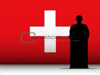 Switzerland Speech Tribune Silhouette with Flag Background