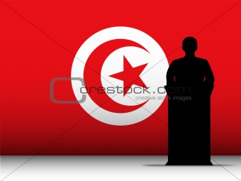 Turkey Speech Tribune Silhouette with Flag Background