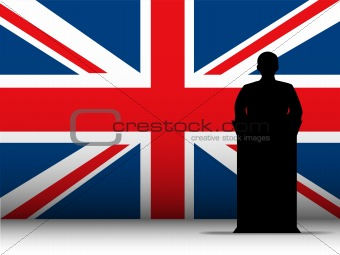 United Kingdom Speech Tribune Silhouette with Flag Background