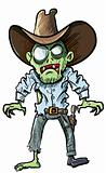 Cartoon cowboy zombie with gun belt and hat