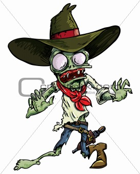 Cartoon cowboy zombie with gun belt and hat.