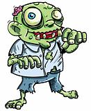 Cute green cartoon zombie