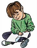 Cartoon of boy readiing a book