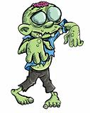 Cute green cartoon zombie.