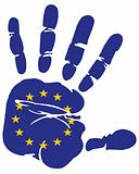 hand print flag of european union