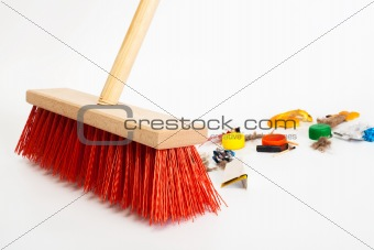 modern red broom