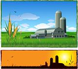 Farm harvest background illustration
