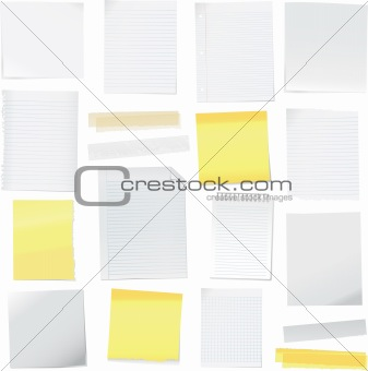 Vector paper note and post it