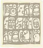 Mayan Glyphs Woodblock