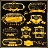 Decorative ornate gold frame label