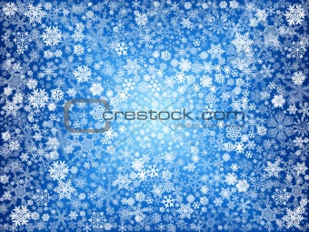 white snowflakes in blue
