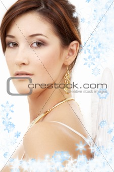 christmas portrait of brunette angel girl #3