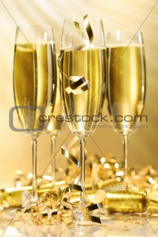 Glasses of golden champagne